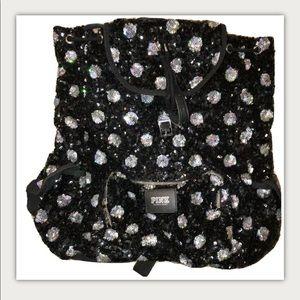 Victorias Secret Pink Backpack Sequin Black Polka